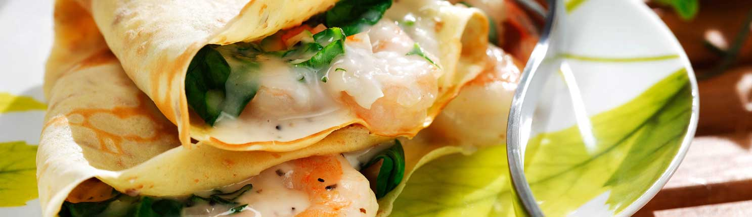 Crêpes with Shrimp, Spinach and Herb Filling made with canola oil