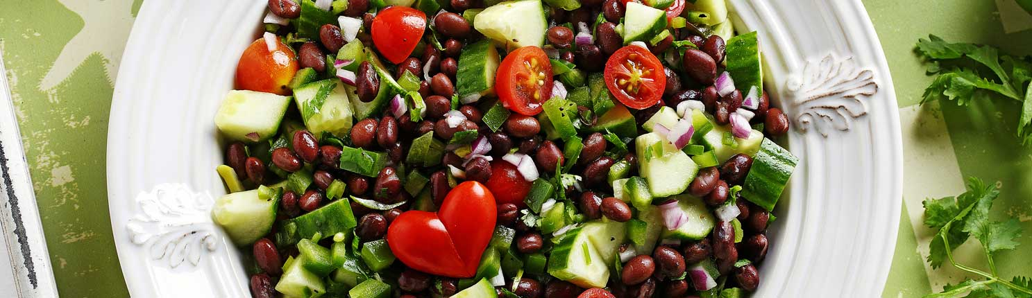 Cucumber and Black Bean Salsa Salad made with canola oil