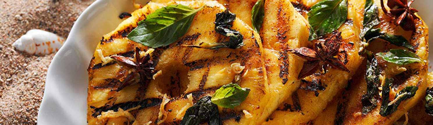 grilled pineapple with ginger and star anise marinade made with Canola Oil