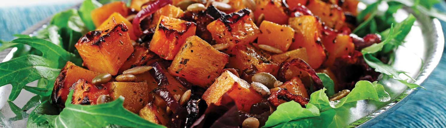 Roasted Butternut Squash Salad with Chile Vinaigrette made with canola oil
