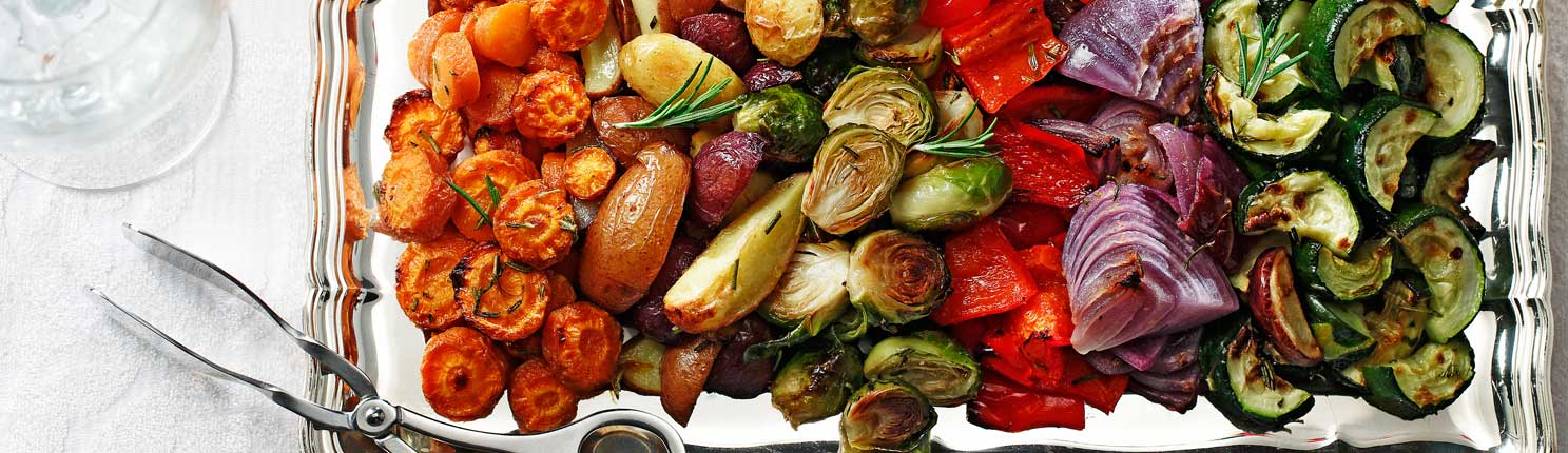 Roasted Veggies and Tri-Colored Potatoes made with canola oil