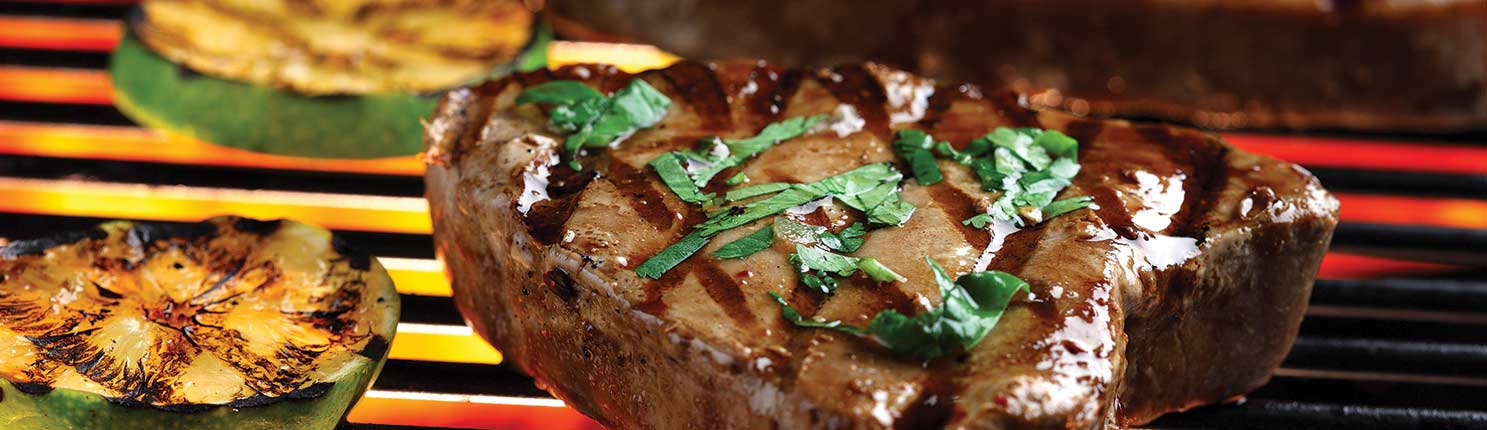 Grilled Tuna Steaks with Cilantro and Basil made with canola oil
