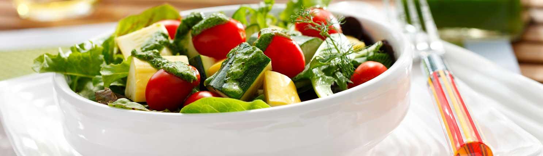 Zucchini Tomato Salad Basil Vinaigrette made with canola oil