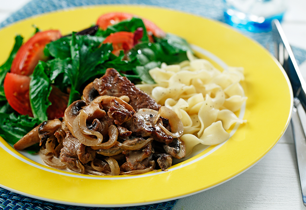 Creamy Beef, Mushrooms and Noodles made with canola oil by American Diabetes Association