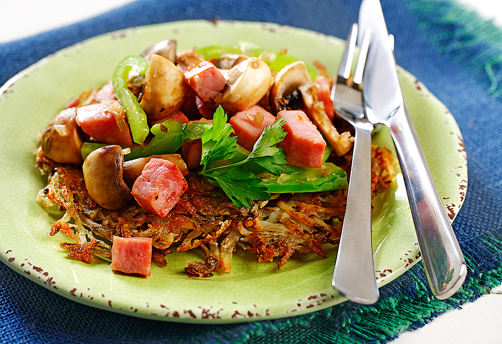 Hash Browns with Ham and Chunky Vegetables recipe made with canola oil by the American Diabetes Association