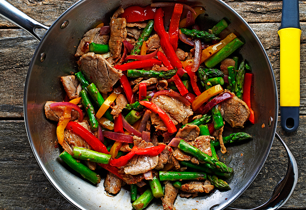 Pork Stir fry recipe made with canola oil developed by Manuel Villacorta