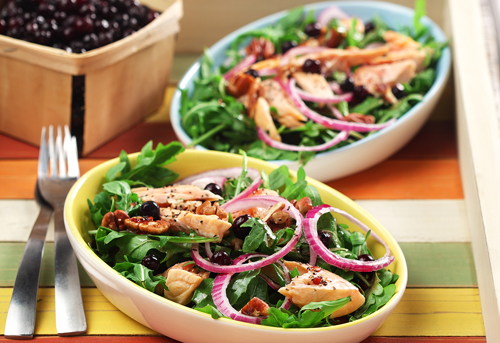 Salmon Arugula Salad with Blueberry Pomegranate Vinaigrette recipe made with canola oil by Nancy Hughes