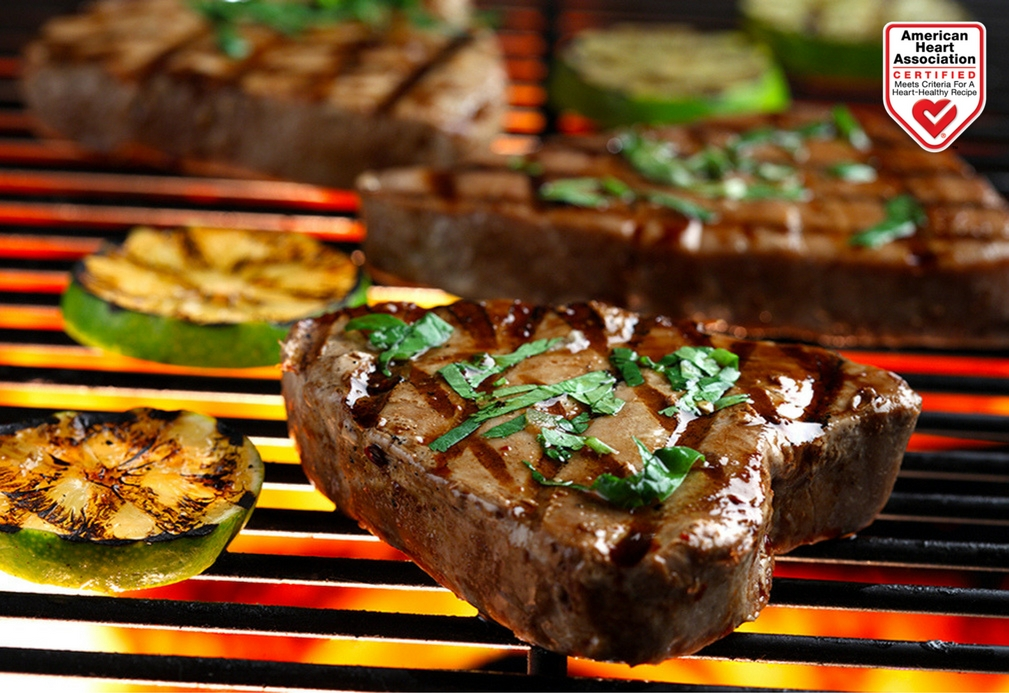 Grilled Tuna Steaks with Cilantro and Basil recipe made with canola oil by Nancy Hughes