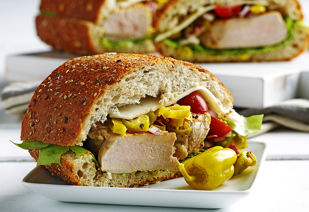 pork sandwich recipe made with canola oil developed by Nancy Hughes