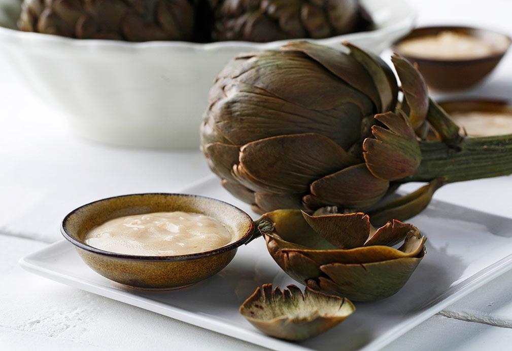 Alcachofas con vinagreta de mostaza y estragón