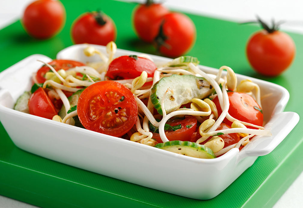 Bean Sprouts & Tomatoes recipe made with canola oil