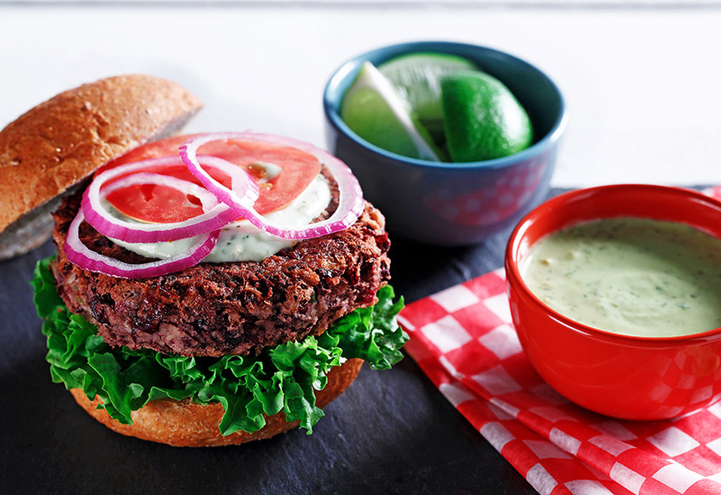 Black Bean Burgers with Avocado Lime Mayonnaise recipe made with canola oil in partnership with the American Diabetes Association