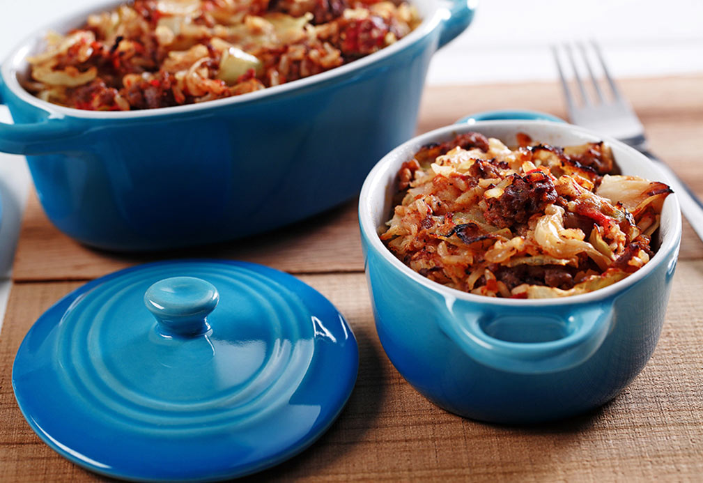 Cabbage roll casserole recipe made with canola oil by Patricia Chuey
