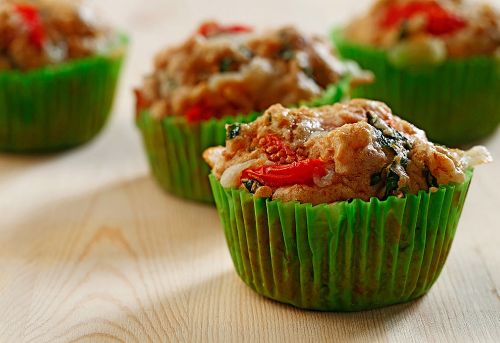 Caprese Muffins recipe made with canola oil