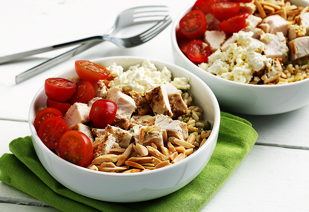Chicken and Feta Grain Bowls recipe made with canola oil by Nancy Hughes