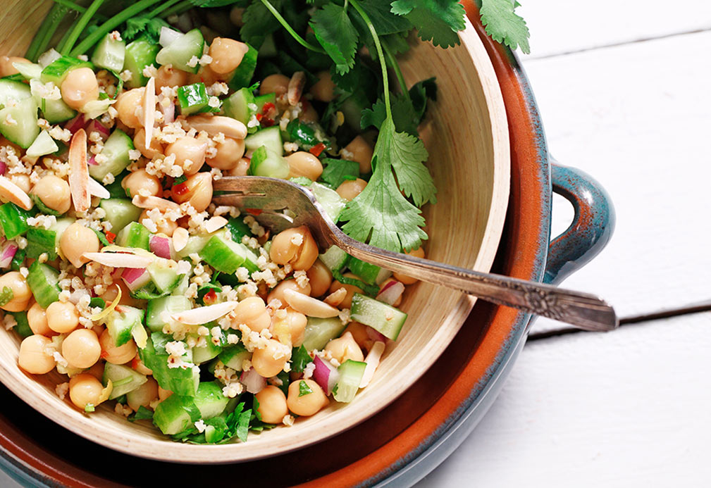 Chickpea and Millet Grain Salad recipe made with canola oil by Nancy Hughes