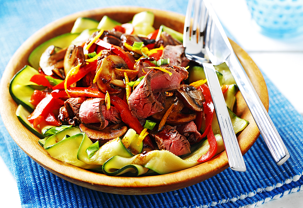 Citrus Beef on Zucchini Ribbons recipe made with canola oil by Nancy Hughes