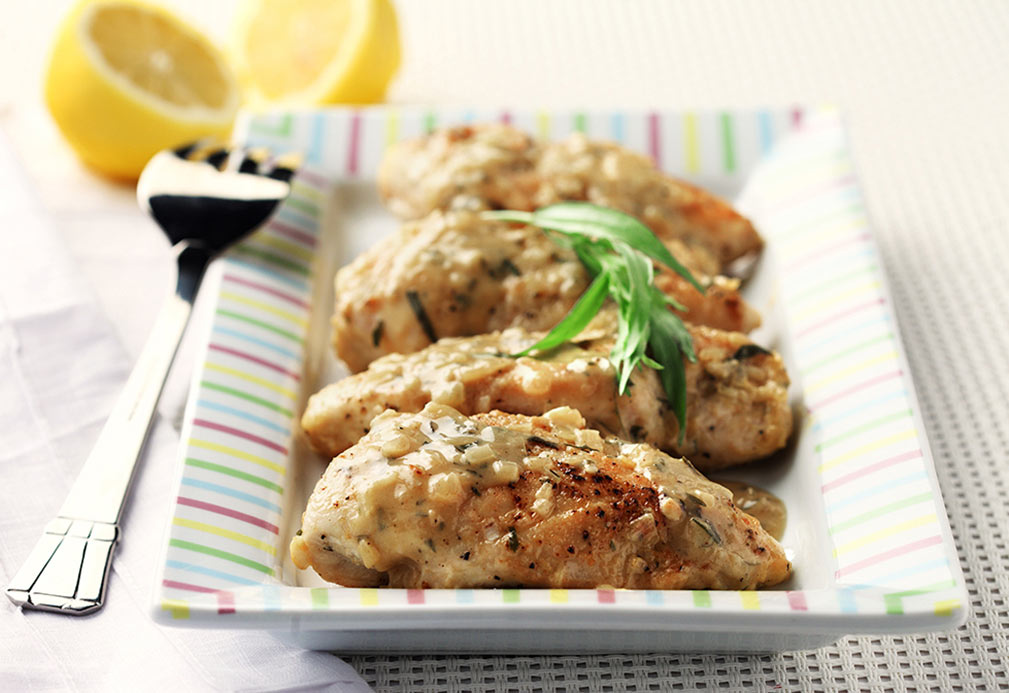 Citrus Chicken with Tarragon and Mustard recipe made with canola oil