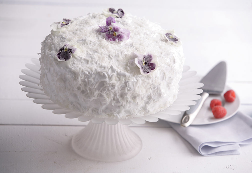 Coconut Raspberry Cake recipe made with canola oil