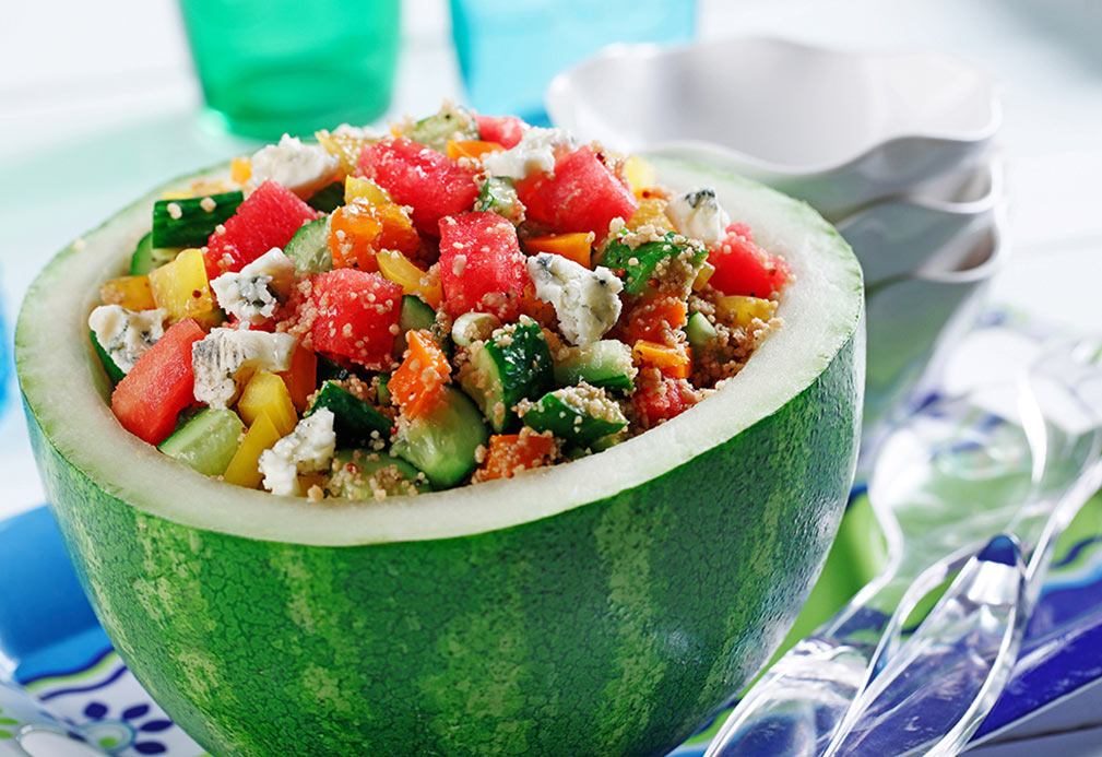 Couscous, Watermelon and Gorgonzola Salad recipe made with canola oil by George Geary