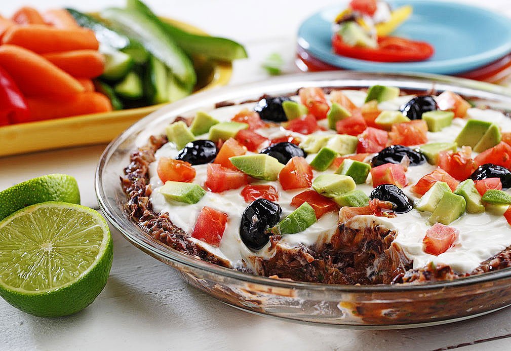 Creamy Black Bean Stack Dip recipe made with canola oil by the American Diabetes Association