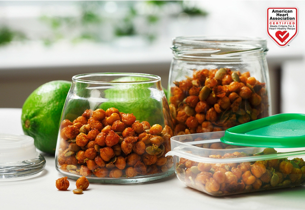 Crispy Chickpeas and Pumpkin Seeds with Lime recipe made with canola oil by Nancy Hughes