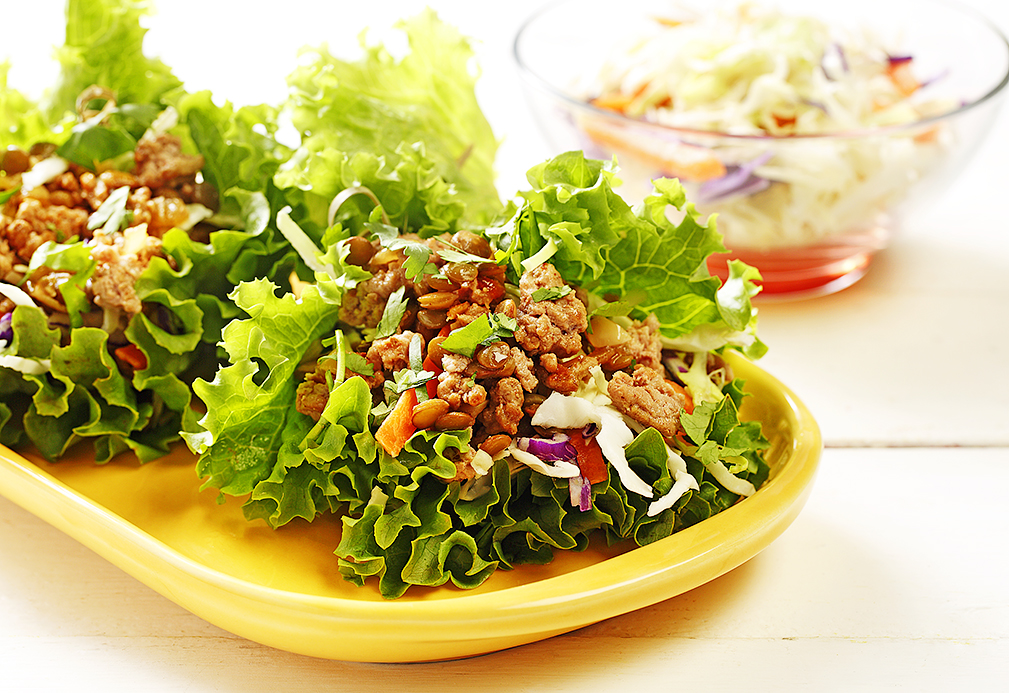 Crunchy Turkey Lentil Lettuce Wraps recipe made with canola oil by Patricia Chuey