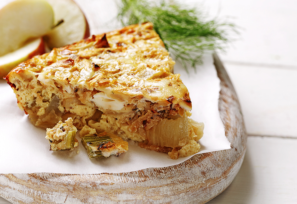 Crustless Apple and Roasted Fennel Quiche recipe made with canola oil by Patricia Chuey