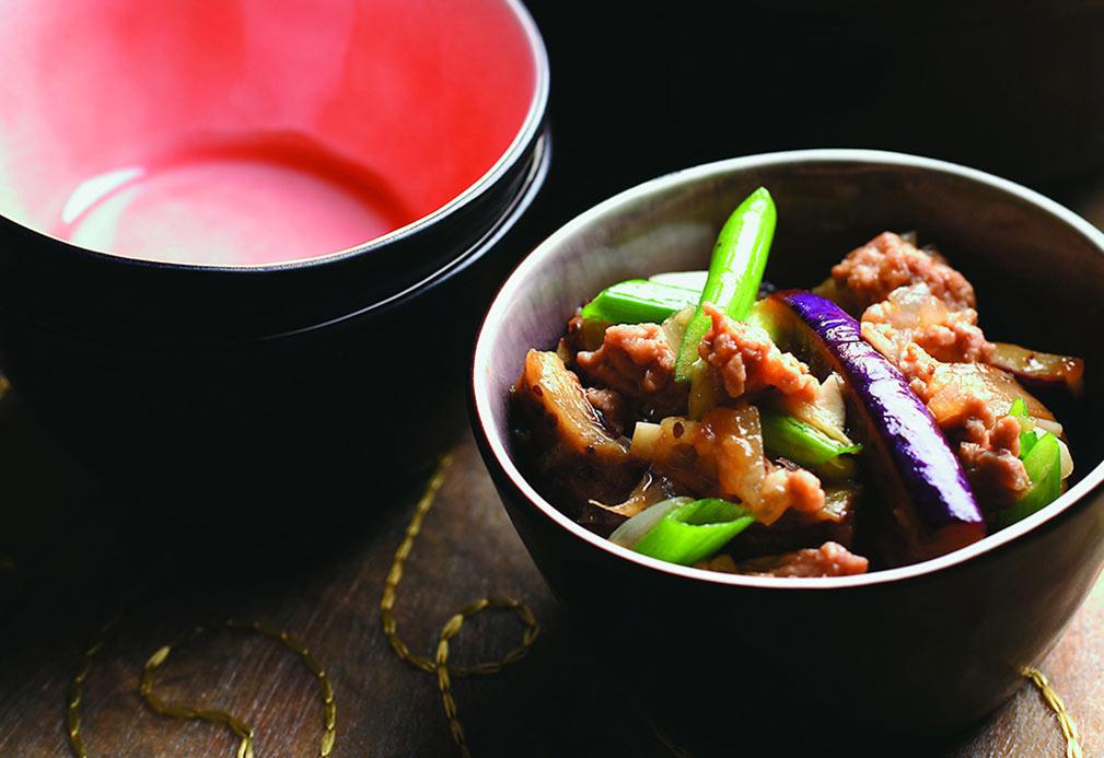 Berenjena en salsa picante con ajo