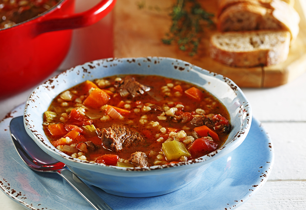 Grandma's Beef Barley Soup recipe made with canola oil by Patricia Chuey