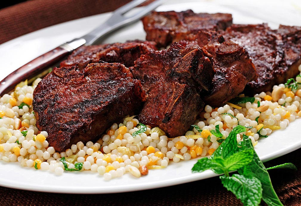 Grilled Lamb Chops with Fresh Ginger Couscous recipe made with canola oil by Nancy Hughes