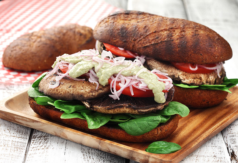 Grilled Portobello Loaf with Basil Hummus recipe made with canola oil by Nancy Hughes