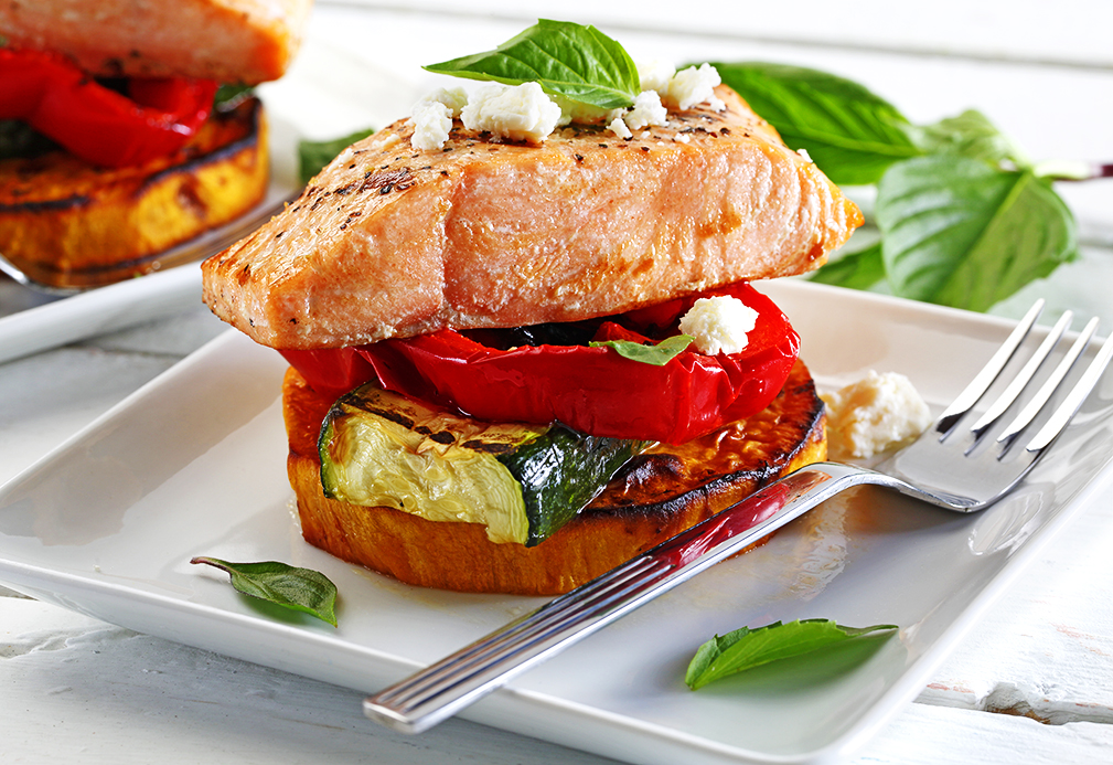 Grilled Vegetable and Salmon Stacks recipe made with canola oil by Patricia Chuey