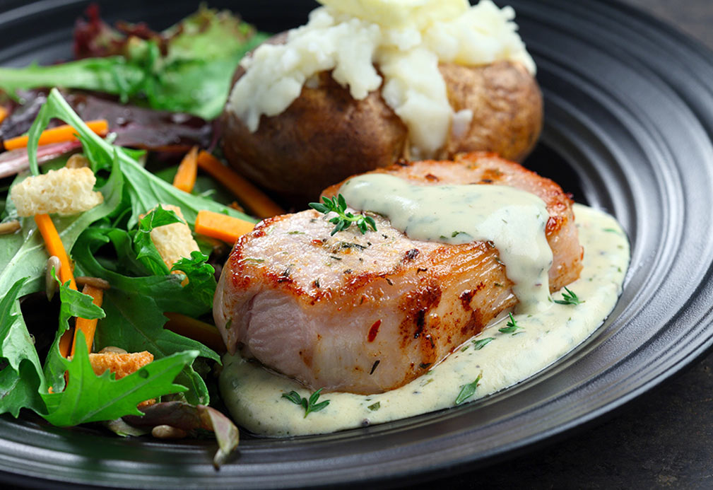 Herbed Pork Chops on Mustard Sauce recipe made with canola oil by Nancy Hughes