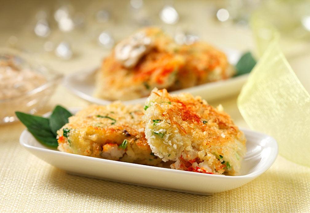Tortitas de carne de cangrejo bien pensadas