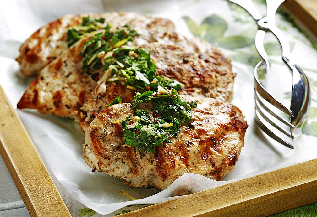 Mint-Parsley Lemon Chicken recipe made with canola oil by Nancy Hughes