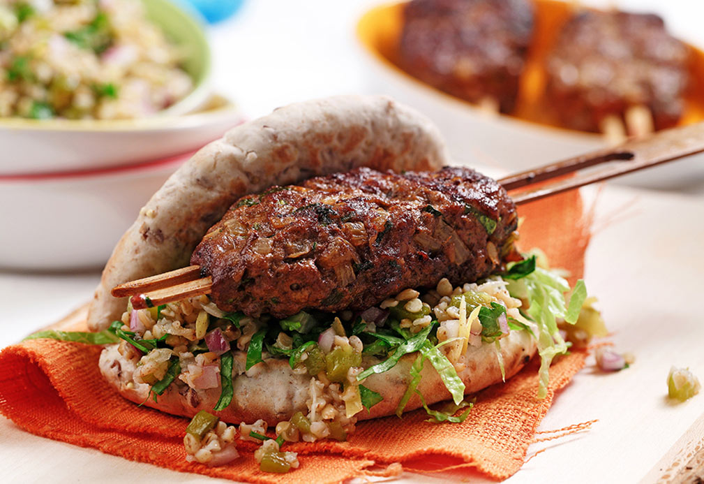 Moroccan Ground Lamb Kebabs with Preserved Lemon Tabbouleh recipe made with canola oil by Nathan Fong