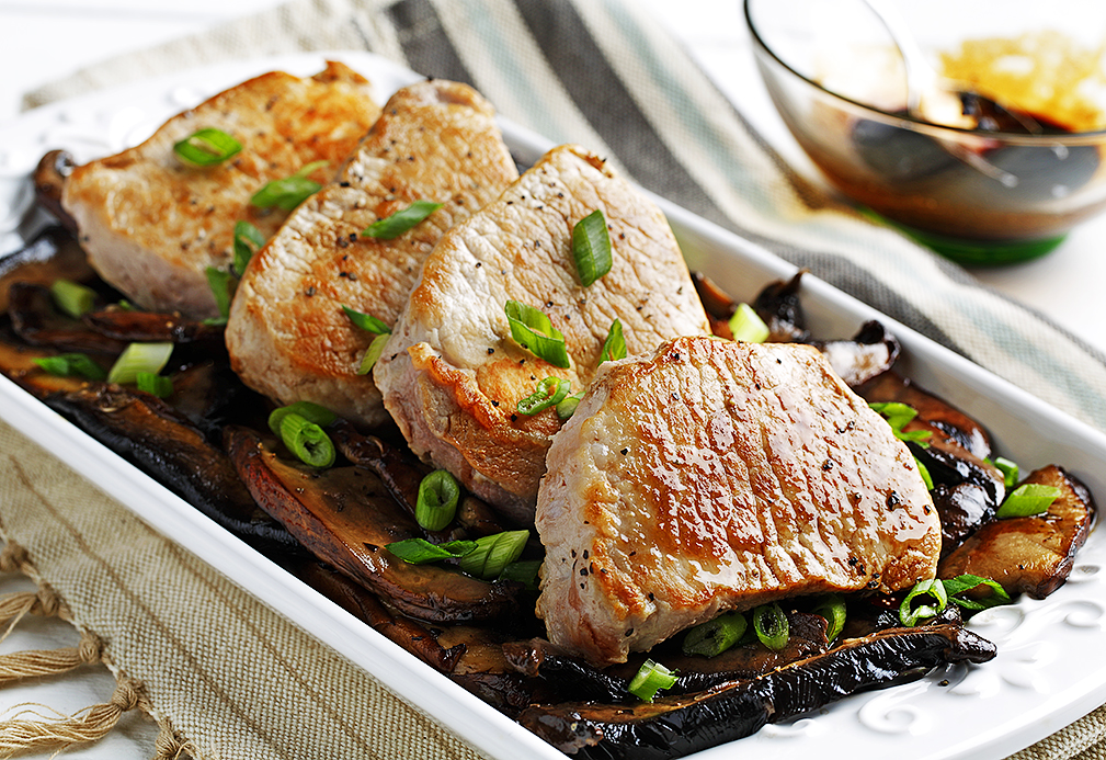 Pork Loin Chops with Sweet Balsamic Mushrooms recipe made with canola oil by Nancy Hughes