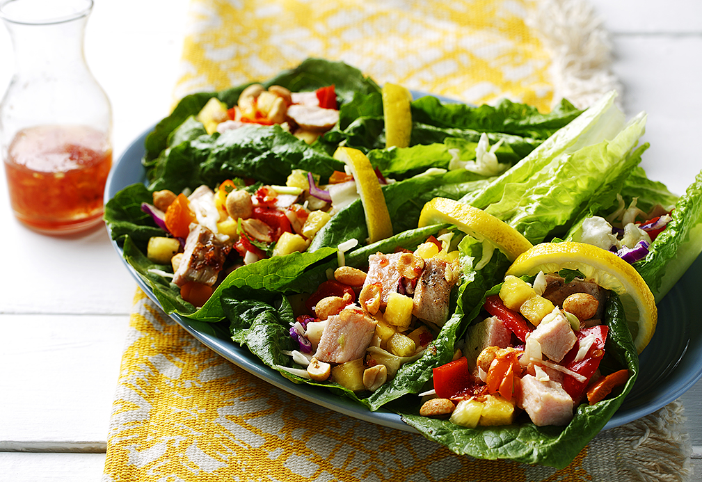 Pork Long Leaf Lettuce Wraps recipes made with canola oil by Nancy Hughes