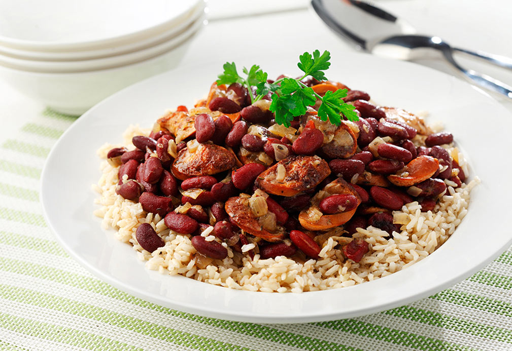 Red Beans and Rice recipe made with canola oil by Nancy Hughes