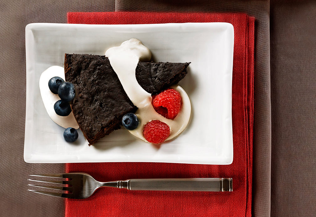 Rich, Warm Brownie Wedges with Java Cream recipe made with canola oil in partnership with the American Diabetes Association