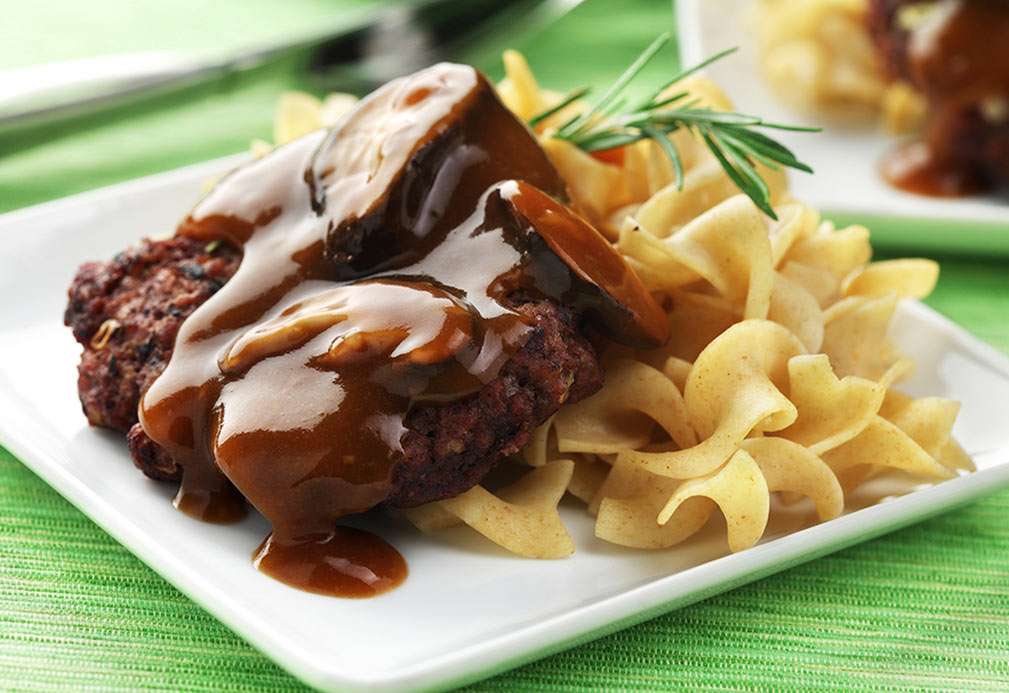 Rosemary Beef Patties with Dark Brandy Sauce recipe made with canola by Nancy Hughes