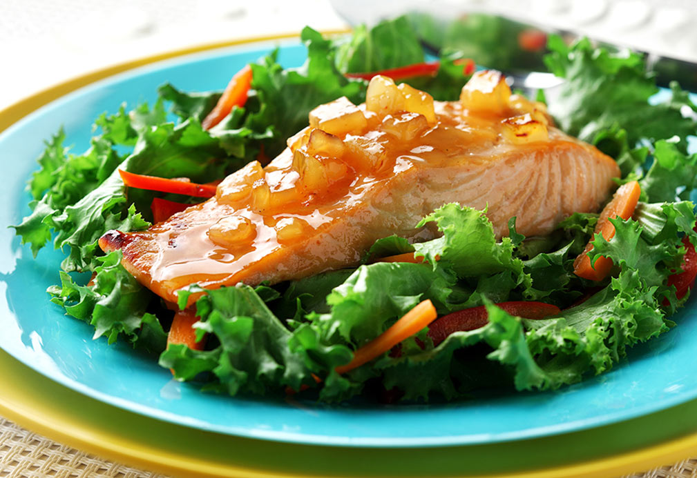 Salmon with Mango Chutney recipe made with canola oil