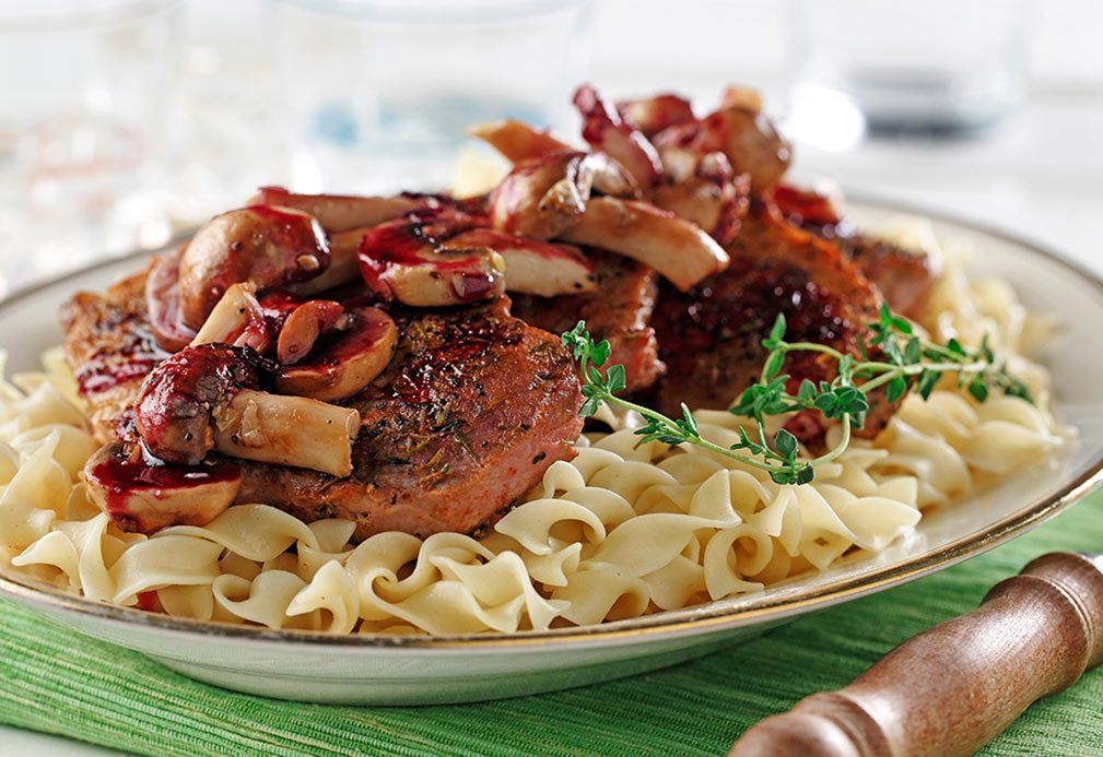 Sautéed Pork Loin Chops with Burgundy Mushrooms recipe made with canola oil by Kathleen Bruni