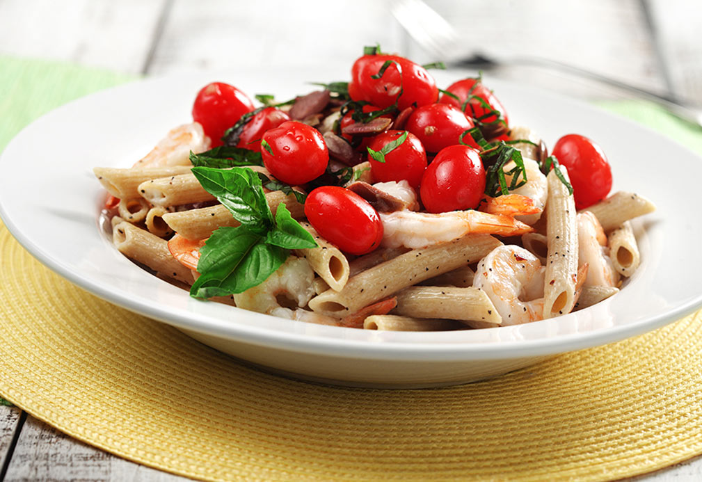 Shrimp and Goat Cheese Penne recipe made with canola oil by Nancy Hughes