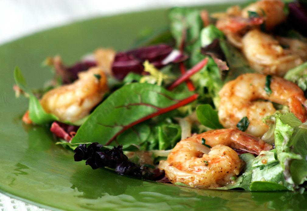 Shrimp Salad with Golden Raisin Vinaigrette recipe made with canola oil by Raghavan Iyer
