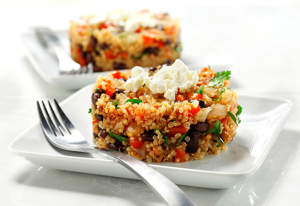 Skillet Quinoa with Black Beans, Cilantro and Feta recipe made with canola oil by Nancy Hughes