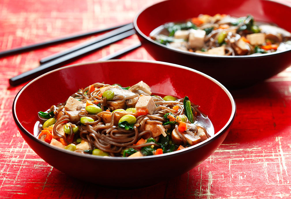 Soba Noodles with Mushroom, Spinach & Tofu recipe made with canola oil
