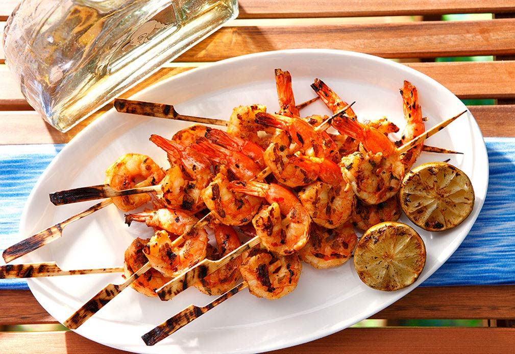 Spicy Mexican Shrimp Skewers recipe made with canola oil by Nathan Fong
