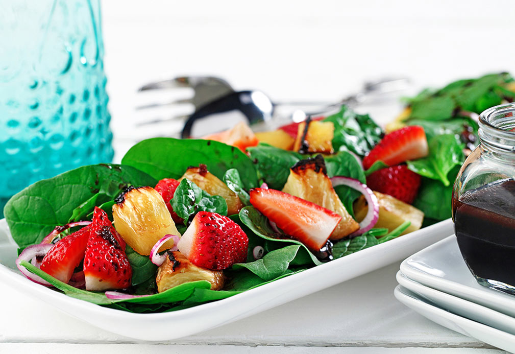 Spinach Salad with Grilled and Fresh Fruit recipe made with canola oil in partnership with the American Diabetes Association